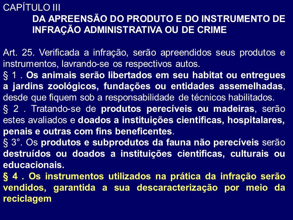 CAPÍTULO III DA APREENSÃO DO PRODUTO E DO INSTRUMENTO DE INFRAÇÃO ADMINISTRATIVA OU DE CRIME.