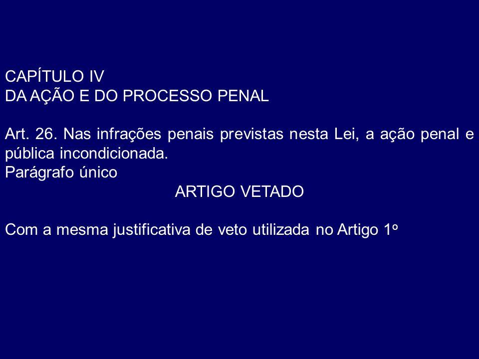 CAPÍTULO IV DA AÇÃO E DO PROCESSO PENAL. Art. 26. Nas infrações penais previstas nesta Lei, a ação penal e pública incondicionada.