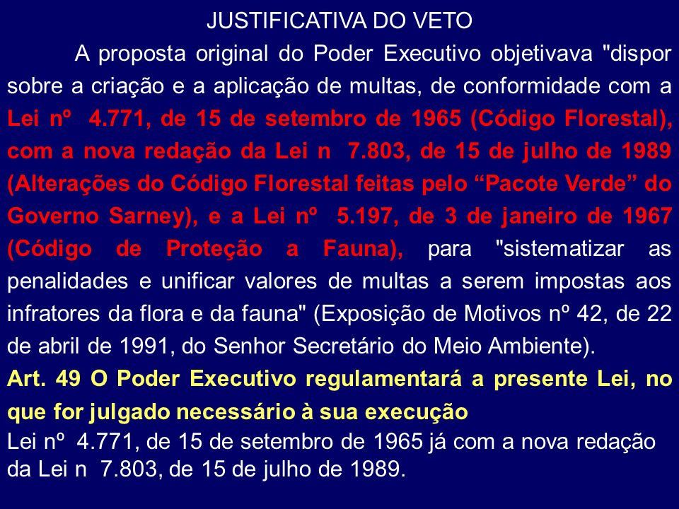 JUSTIFICATIVA DO VETO