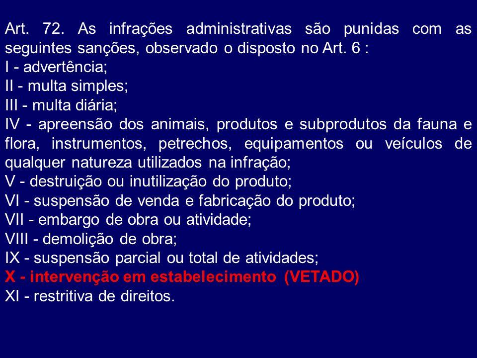 Art. 72. As infrações administrativas são punidas com as seguintes sanções, observado o disposto no Art. 6 :