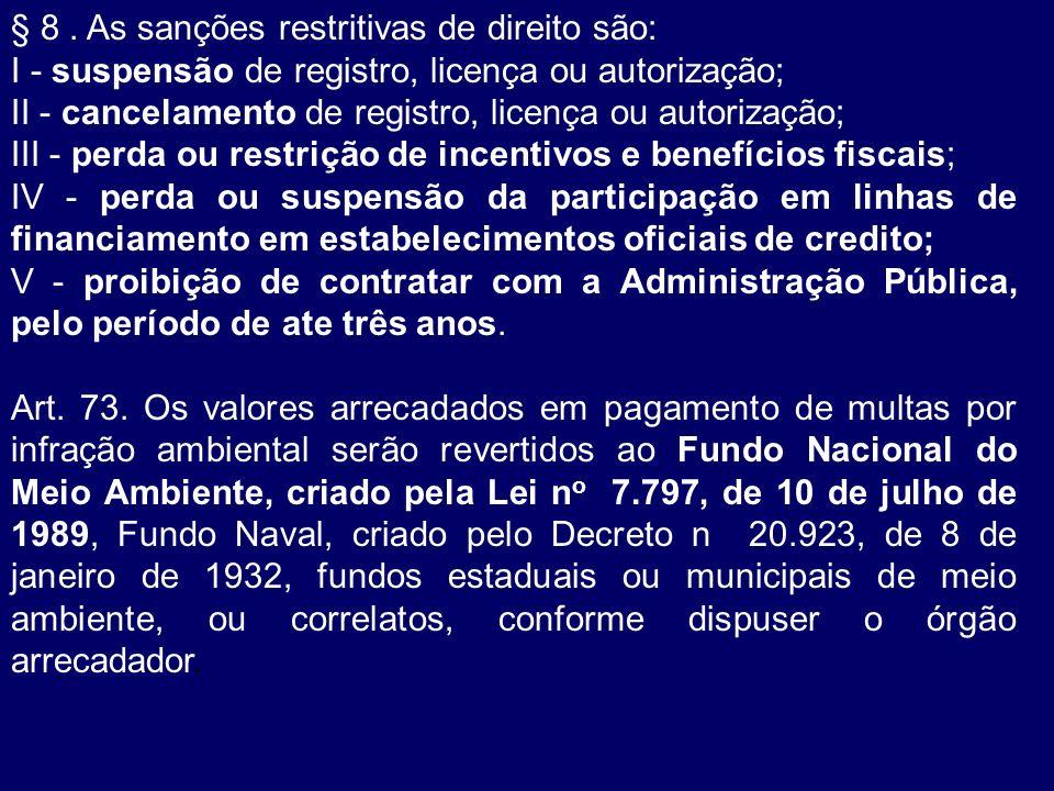 § 8 . As sanções restritivas de direito são: