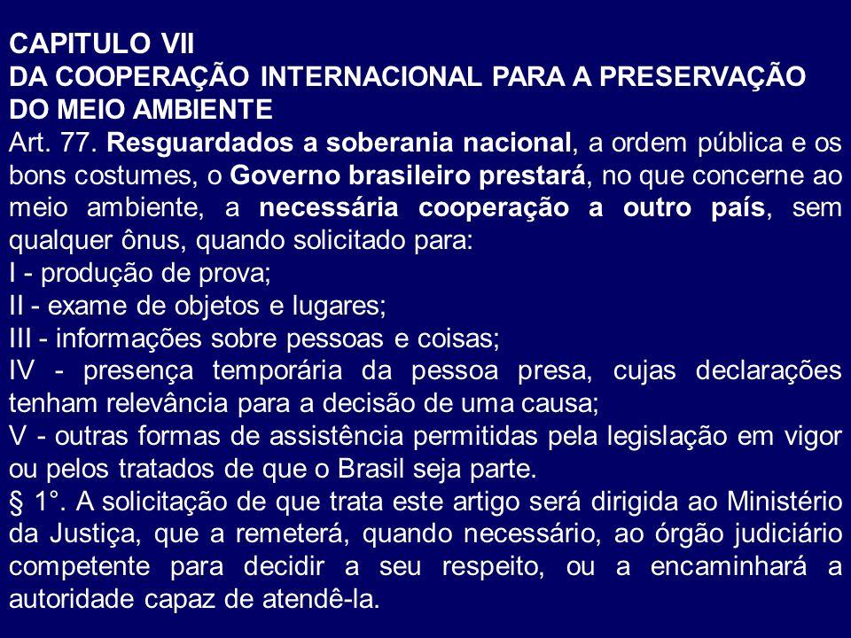 CAPITULO VII DA COOPERAÇÃO INTERNACIONAL PARA A PRESERVAÇÃO DO MEIO AMBIENTE.