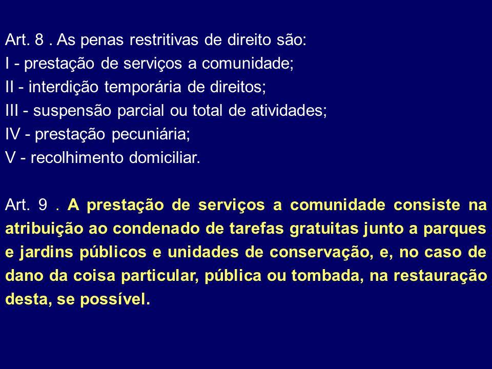 Art. 8 . As penas restritivas de direito são: