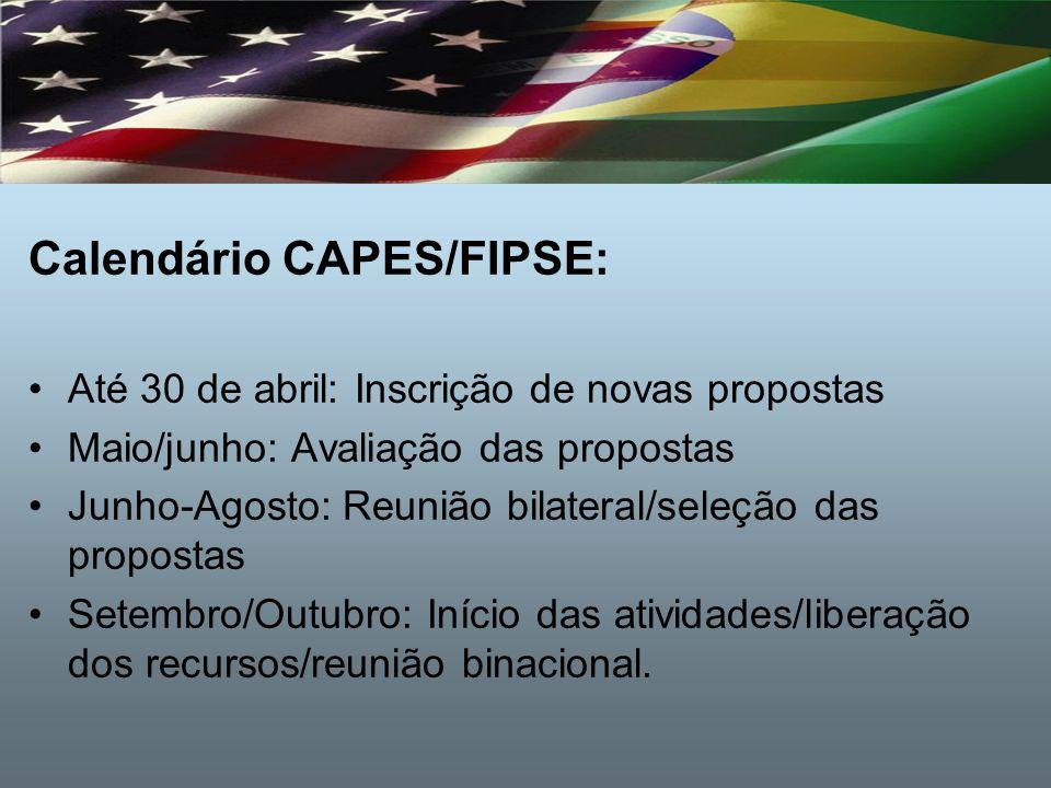Calendário CAPES/FIPSE: