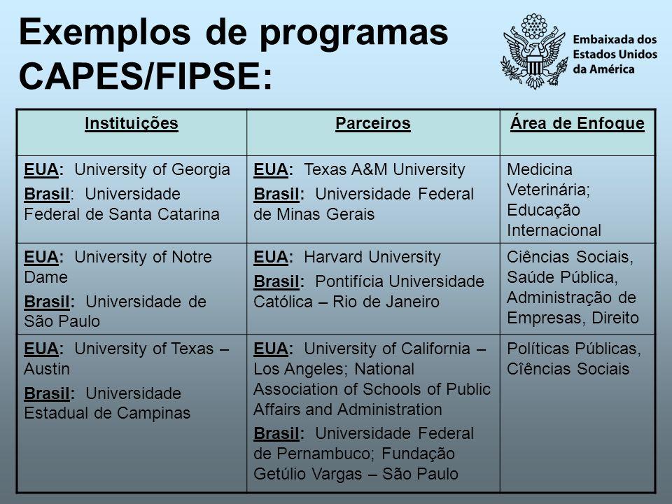 Exemplos de programas CAPES/FIPSE: