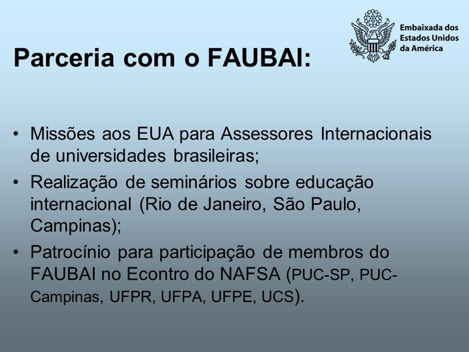 Parceria com o FAUBAI: Missões aos EUA para Assessores Internacionais de universidades brasileiras;