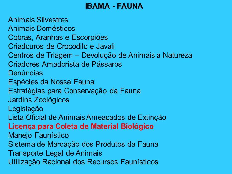 IBAMA - FAUNA Animais Silvestres Animais Domésticos