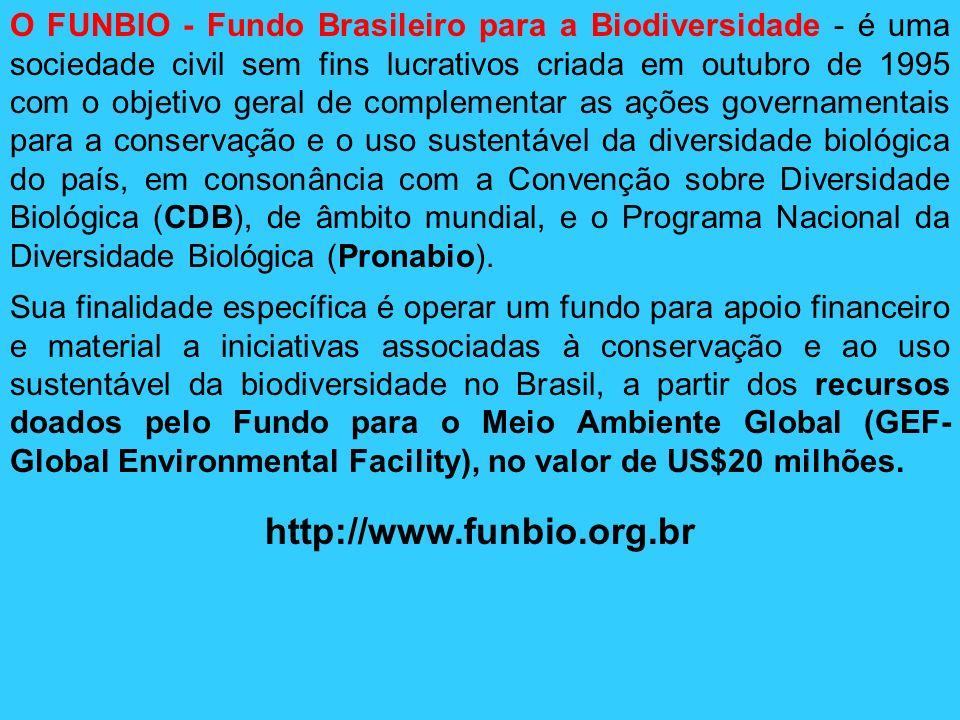 O FUNBIO - Fundo Brasileiro para a Biodiversidade - é uma sociedade civil sem fins lucrativos criada em outubro de 1995 com o objetivo geral de complementar as ações governamentais para a conservação e o uso sustentável da diversidade biológica do país, em consonância com a Convenção sobre Diversidade Biológica (CDB), de âmbito mundial, e o Programa Nacional da Diversidade Biológica (Pronabio).