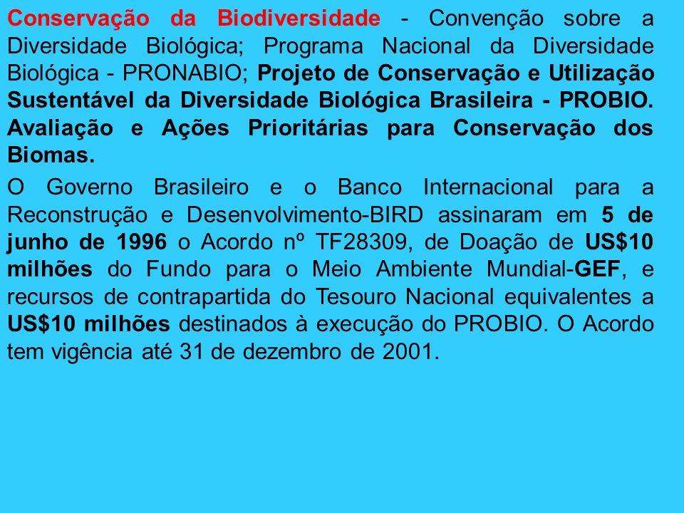 Conservação da Biodiversidade - Convenção sobre a Diversidade Biológica; Programa Nacional da Diversidade Biológica - PRONABIO; Projeto de Conservação e Utilização Sustentável da Diversidade Biológica Brasileira - PROBIO. Avaliação e Ações Prioritárias para Conservação dos Biomas.