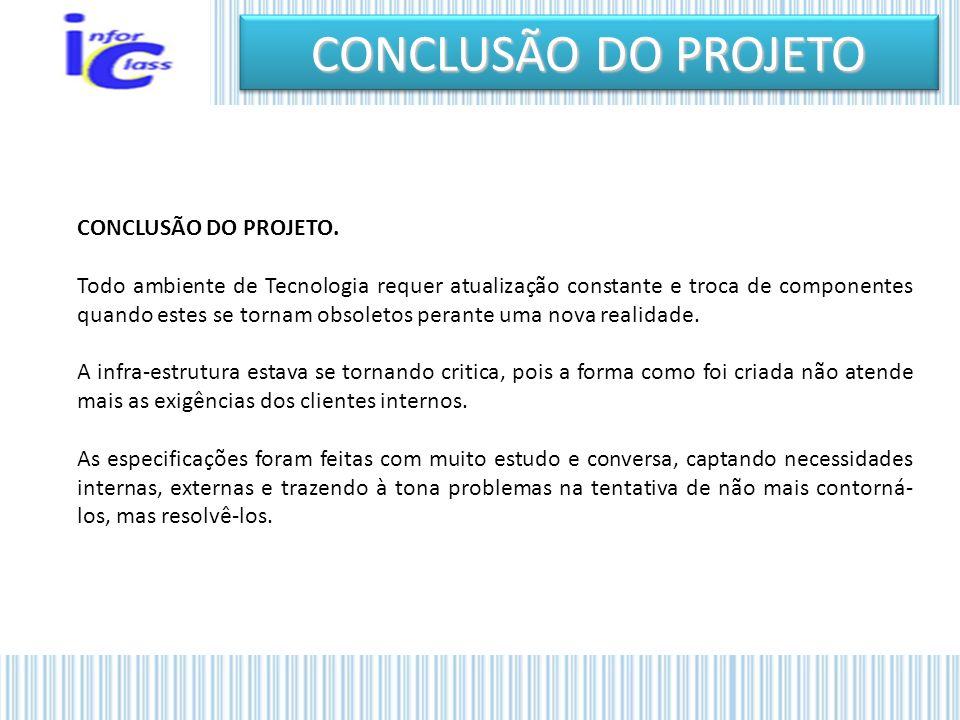 CONCLUSÃO DO PROJETO CONCLUSÃO DO PROJETO.