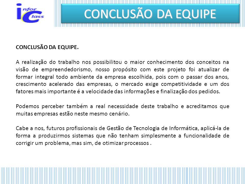 CONCLUSÃO DA EQUIPE CONCLUSÃO DA EQUIPE.