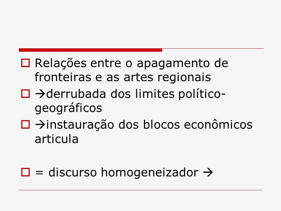 Relações entre o apagamento de fronteiras e as artes regionais