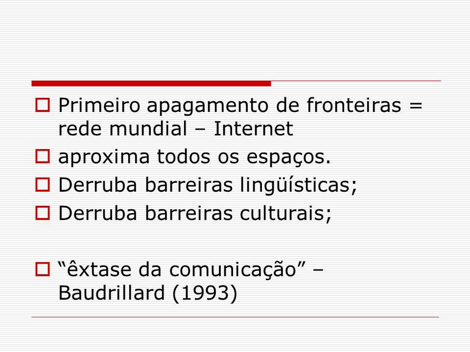 Primeiro apagamento de fronteiras = rede mundial – Internet