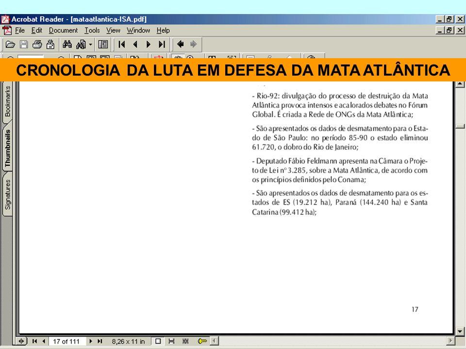 CRONOLOGIA DA LUTA EM DEFESA DA MATA ATLÂNTICA