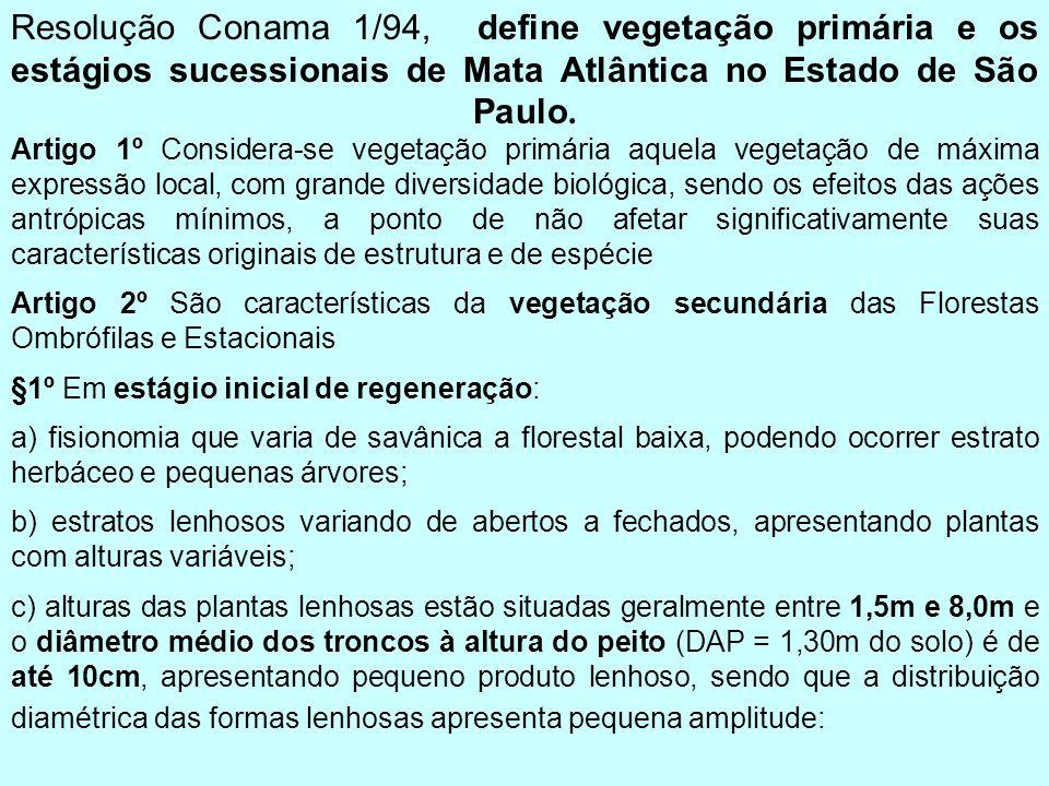 Resolução Conama 1/94, define vegetação primária e os estágios sucessionais de Mata Atlântica no Estado de São Paulo. Artigo 1º Considera-se vegetação primária aquela vegetação de máxima expressão local, com grande diversidade biológica, sendo os efeitos das ações antrópicas mínimos, a ponto de não afetar significativamente suas características originais de estrutura e de espécie