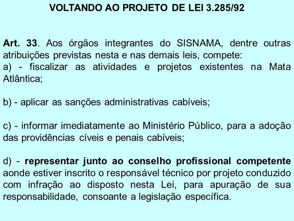VOLTANDO AO PROJETO DE LEI 3.285/92