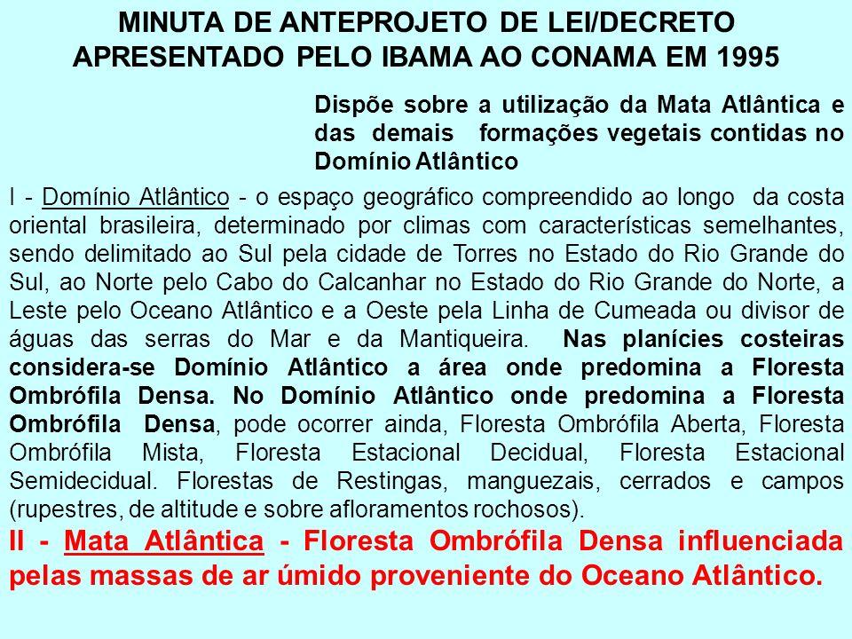 MINUTA DE ANTEPROJETO DE LEI/DECRETO APRESENTADO PELO IBAMA AO CONAMA EM 1995