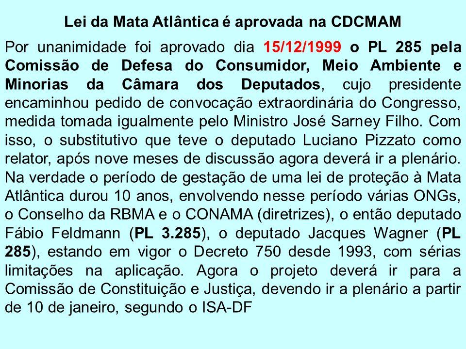 Lei da Mata Atlântica é aprovada na CDCMAM