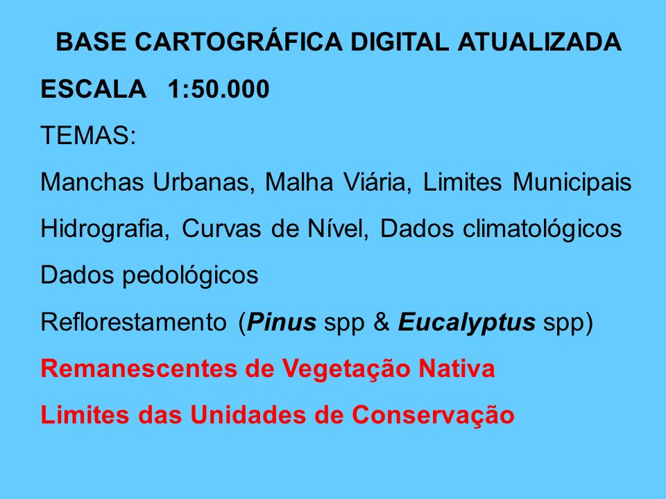 BASE CARTOGRÁFICA DIGITAL ATUALIZADA