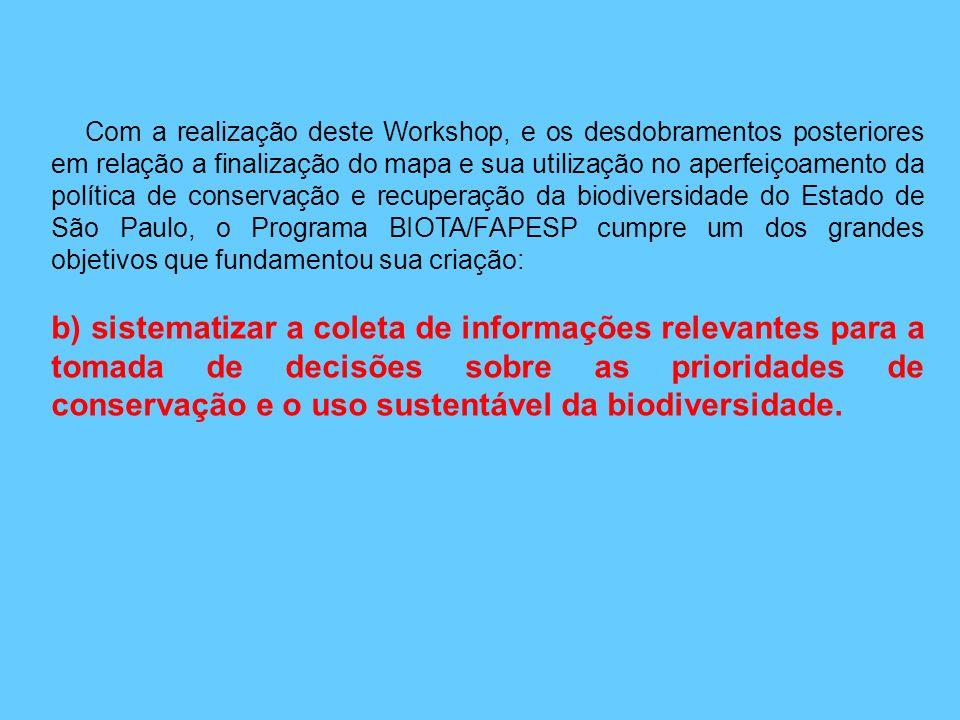 Com a realização deste Workshop, e os desdobramentos posteriores em relação a finalização do mapa e sua utilização no aperfeiçoamento da política de conservação e recuperação da biodiversidade do Estado de São Paulo, o Programa BIOTA/FAPESP cumpre um dos grandes objetivos que fundamentou sua criação: