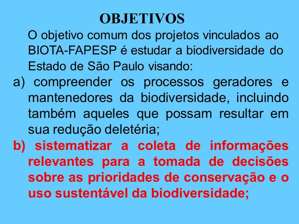 OBJETIVOS O objetivo comum dos projetos vinculados ao BIOTA-FAPESP é estudar a biodiversidade do Estado de São Paulo visando: