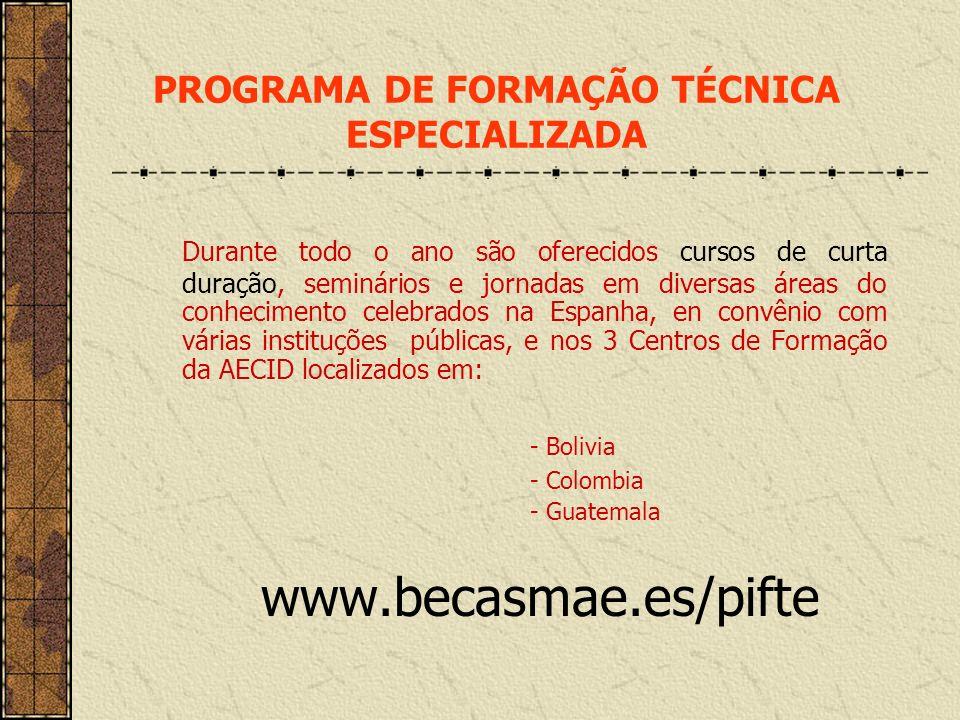 PROGRAMA DE FORMAÇÃO TÉCNICA ESPECIALIZADA
