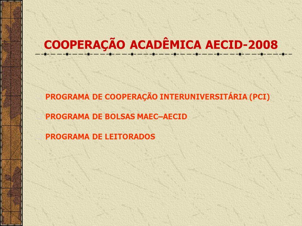 COOPERAÇÃO ACADÊMICA AECID-2008