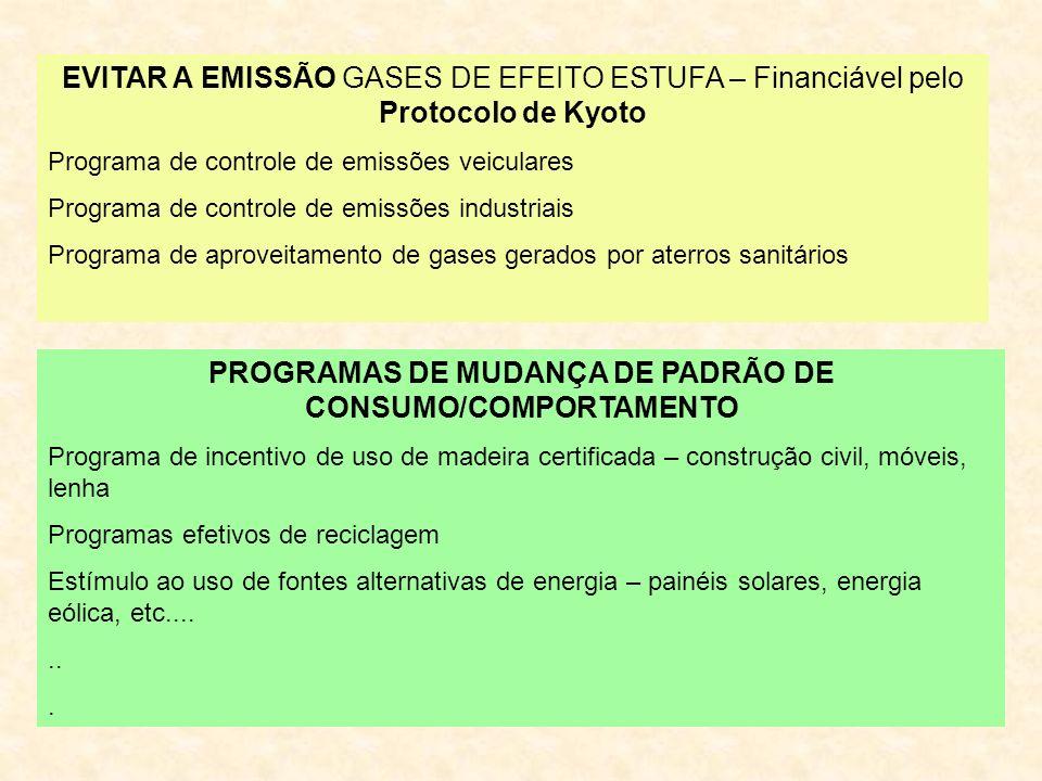 PROGRAMAS DE MUDANÇA DE PADRÃO DE CONSUMO/COMPORTAMENTO