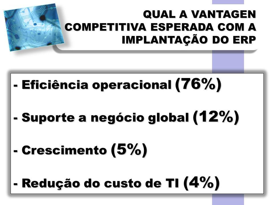 - Eficiência operacional (76%) - Suporte a negócio global (12%)