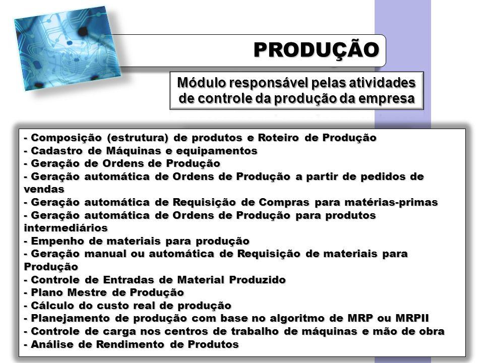 Módulo responsável pelas atividades de controle da produção da empresa