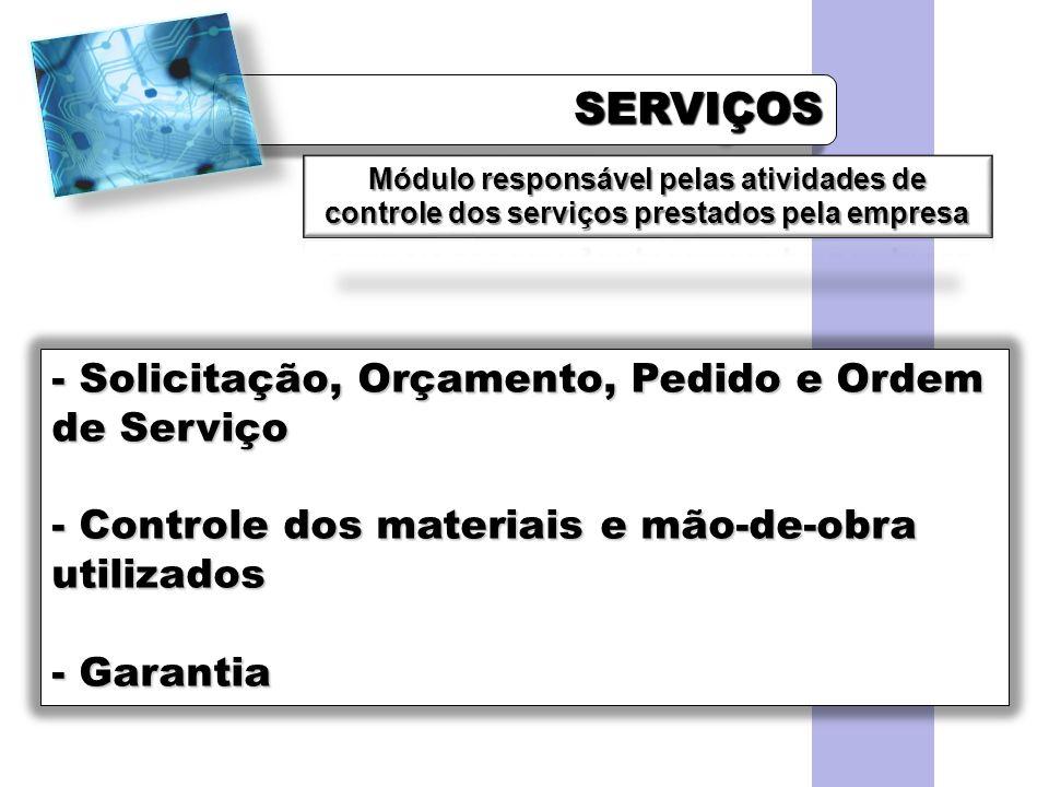 SERVIÇOS Solicitação, Orçamento, Pedido e Ordem de Serviço