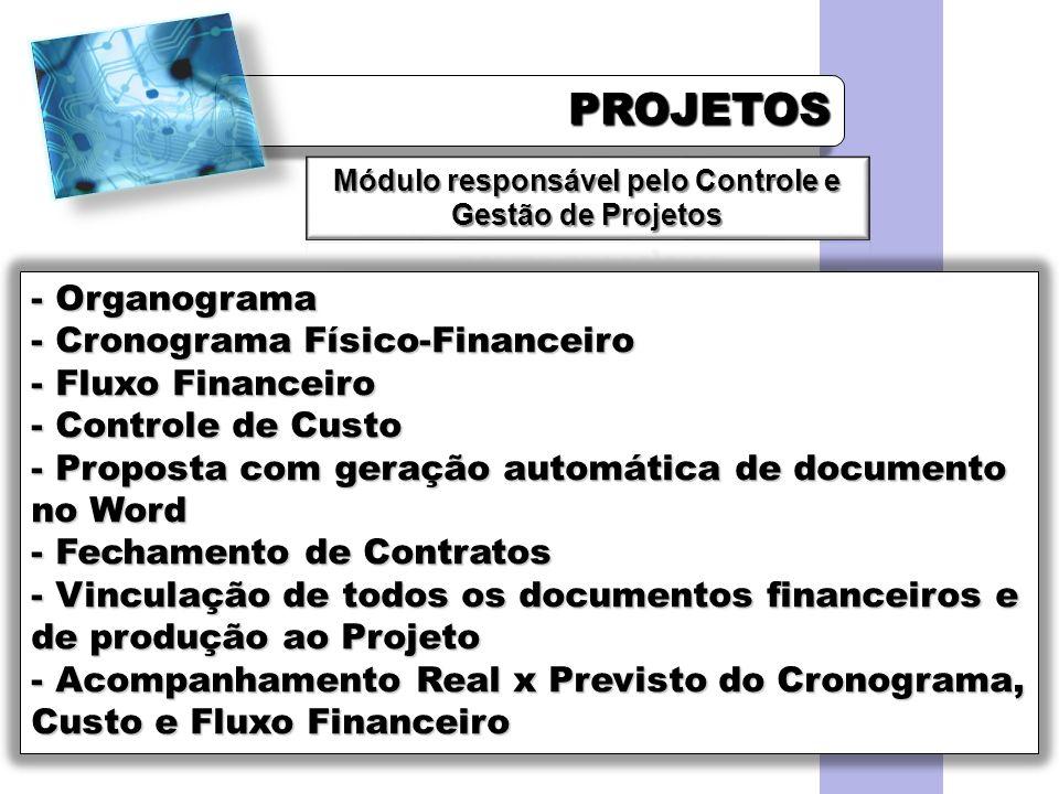 Módulo responsável pelo Controle e Gestão de Projetos