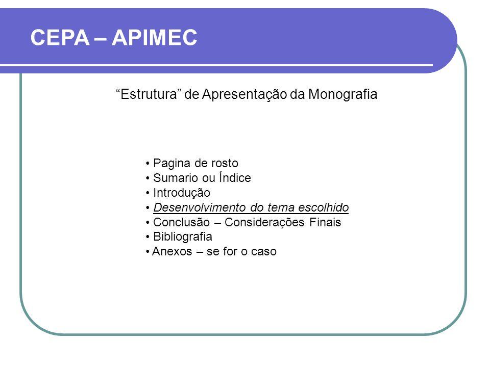 Estrutura de Apresentação da Monografia