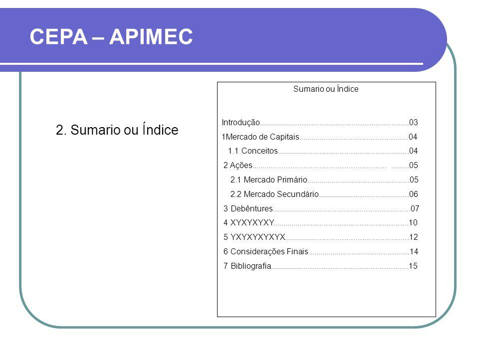 CEPA – APIMEC 2. Sumario ou Índice Sumario ou Índice