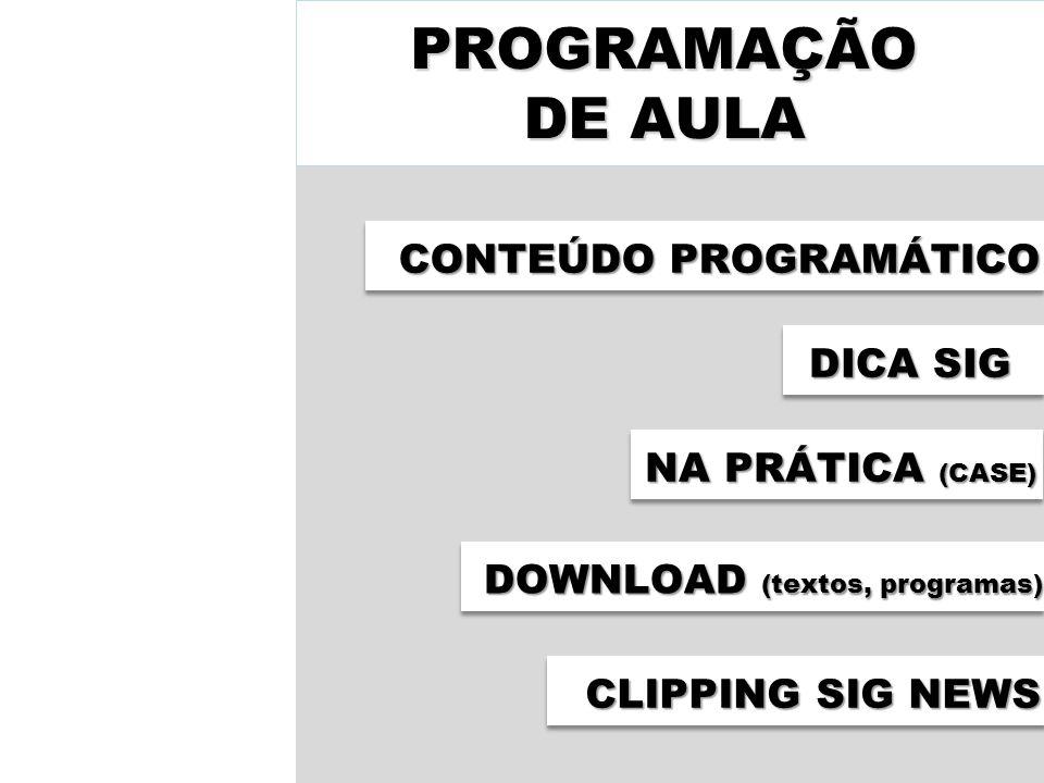 PROGRAMAÇÃO DE AULA CONTEÚDO PROGRAMÁTICO DICA SIG NA PRÁTICA (CASE)