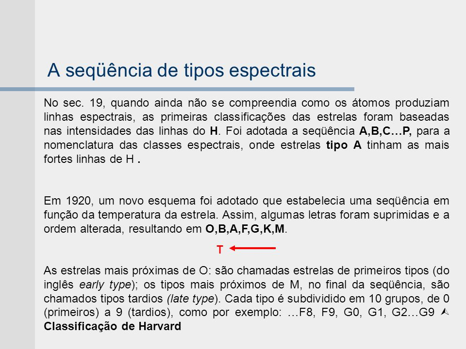 A seqüência de tipos espectrais