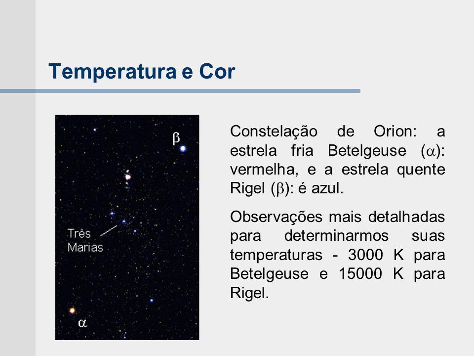 Temperatura e CorConstelação de Orion: a estrela fria Betelgeuse (): vermelha, e a estrela quente Rigel (): é azul.
