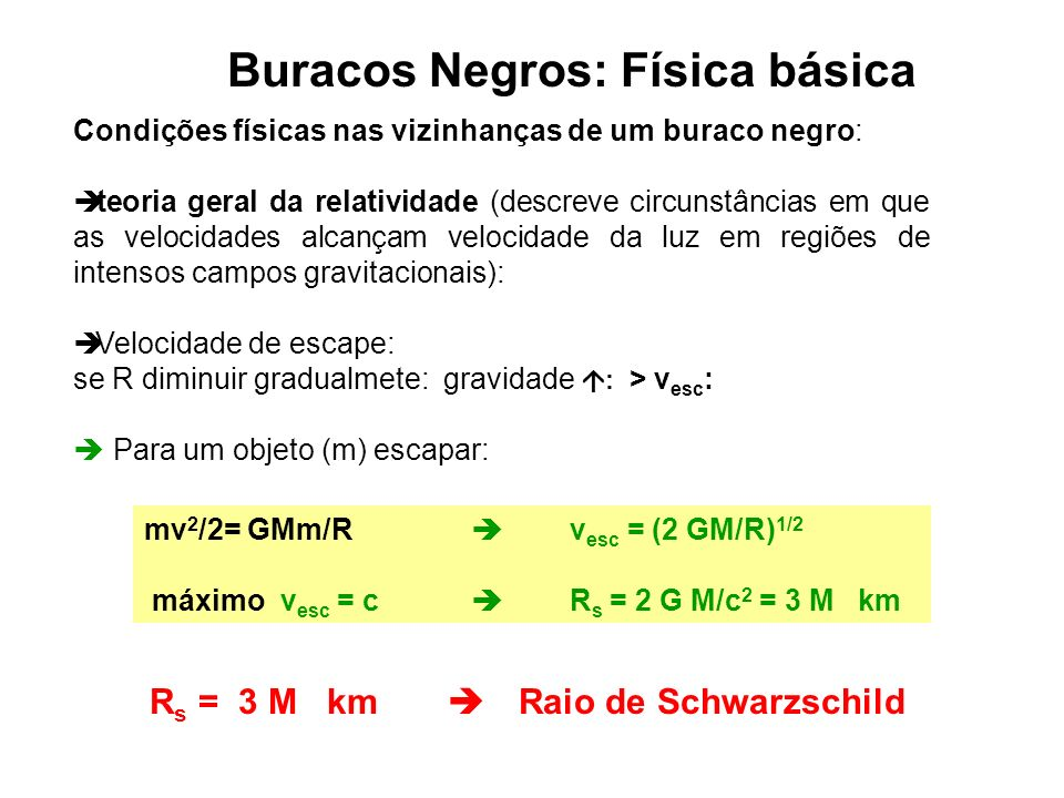 Buracos Negros: Física básica Rs = 3 M km  Raio de Schwarzschild