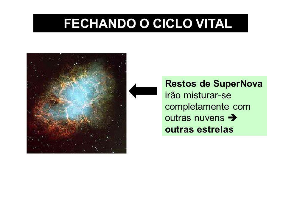 FECHANDO O CICLO VITAL Restos de SuperNova irão misturar-se completamente com outras nuvens  outras estrelas.