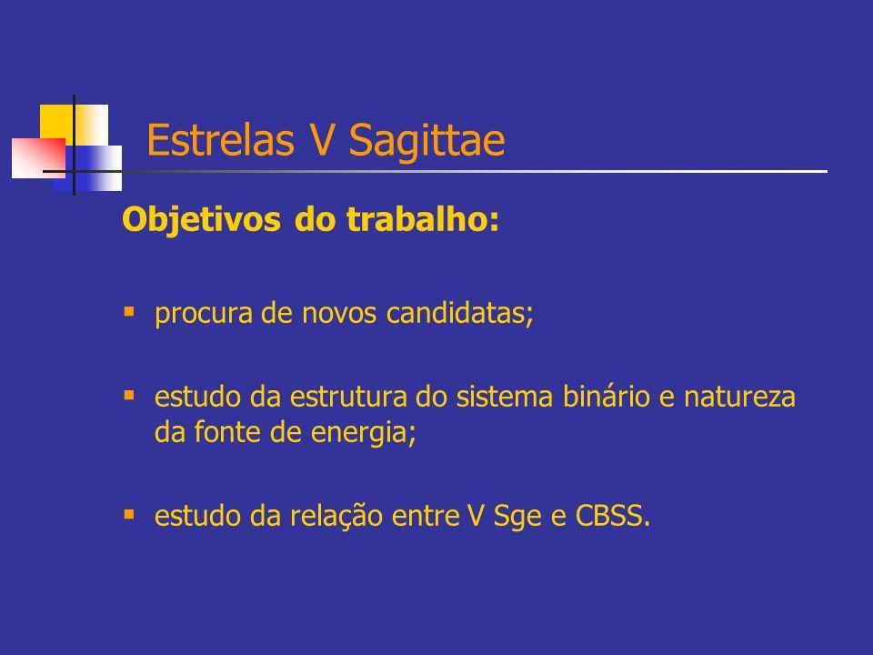 Estrelas V Sagittae Objetivos do trabalho: