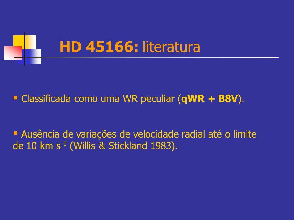 HD 45166: literatura Classificada como uma WR peculiar (qWR + B8V).