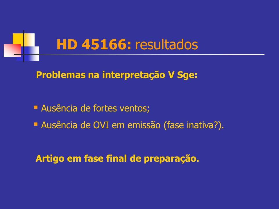 HD 45166: resultados Problemas na interpretação V Sge: