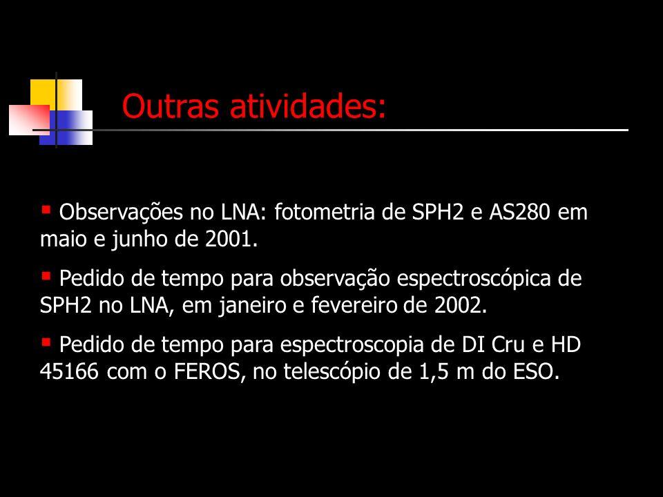 Outras atividades: Observações no LNA: fotometria de SPH2 e AS280 em maio e junho de 2001.