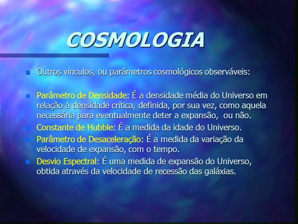 COSMOLOGIA Outros vínculos, ou parâmetros cosmológicos observáveis: