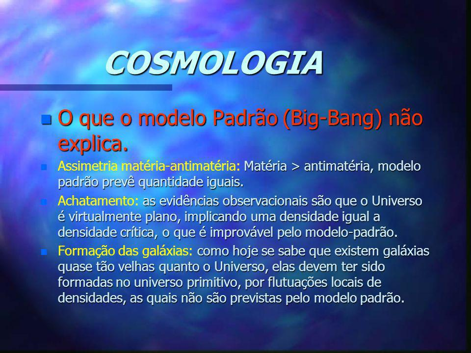 COSMOLOGIA O que o modelo Padrão (Big-Bang) não explica.