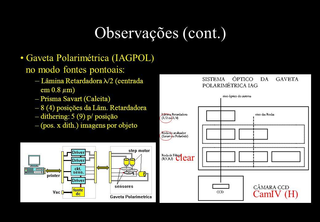 Observações (cont.) Gaveta Polarimétrica (IAGPOL) no modo fontes pontoais: Lâmina Retardadora /2 (centrada em 0.8 m)