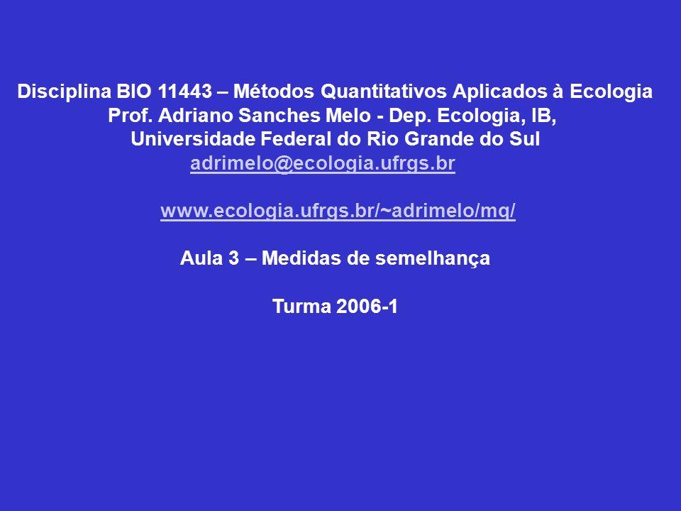 Disciplina BIO 11443 – Métodos Quantitativos Aplicados à Ecologia