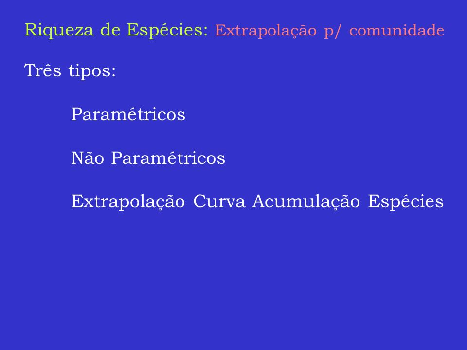 Riqueza de Espécies: Extrapolação p/ comunidade
