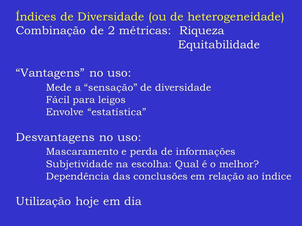 Índices de Diversidade (ou de heterogeneidade)