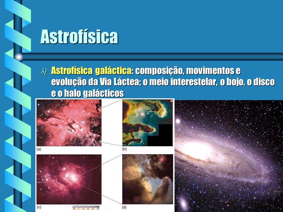 AstrofísicaAstrofísica galáctica: composição, movimentos e evolução da Via Láctea; o meio interestelar, o bojo, o disco e o halo galácticos.